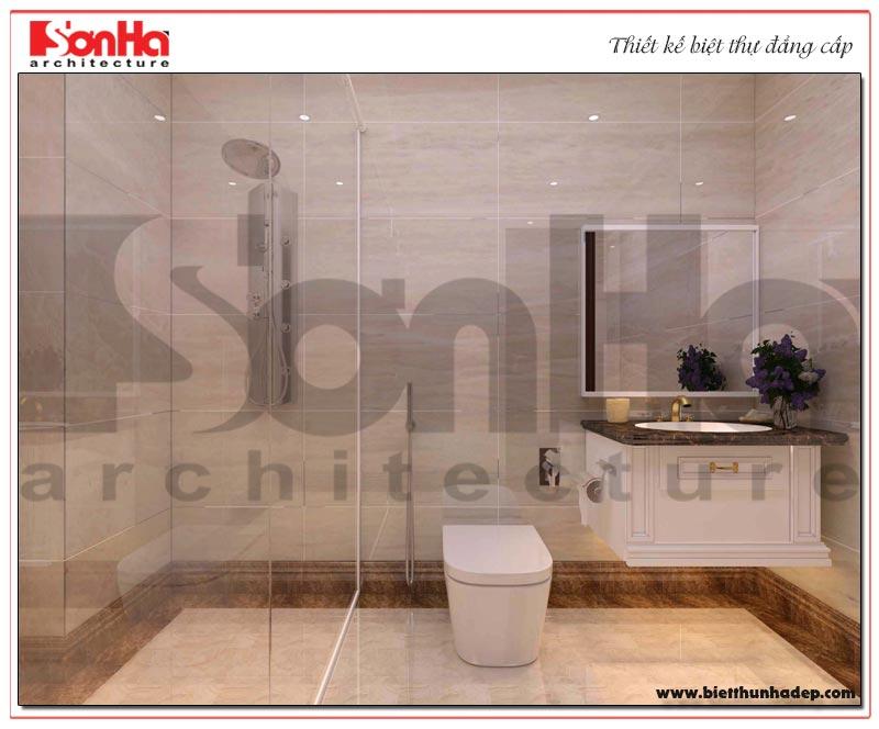 Mẫu nội thất phòng tắm biệt thự với vật liệu cao cấp