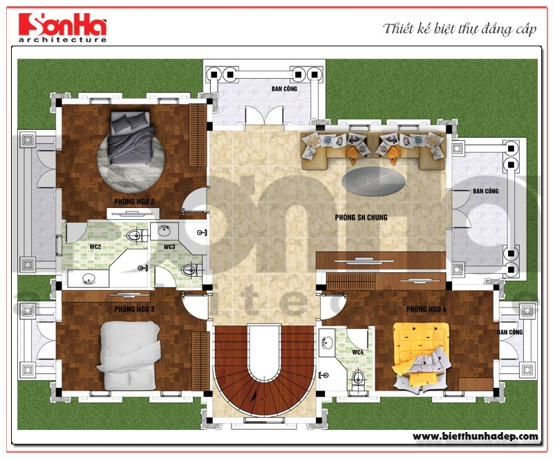 Bản vẽ mặt bằng công năng tầng 1 ngôi biệt thự tân cổ điển diện tích 184,45m2 tại Sài Gòn