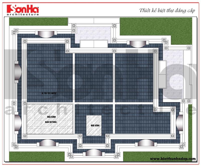 Bản vẽ mặt bằng công năng tầng mái ngôi biệt thự tân cổ điển diện tích 184,45m2 tại Sài Gòn