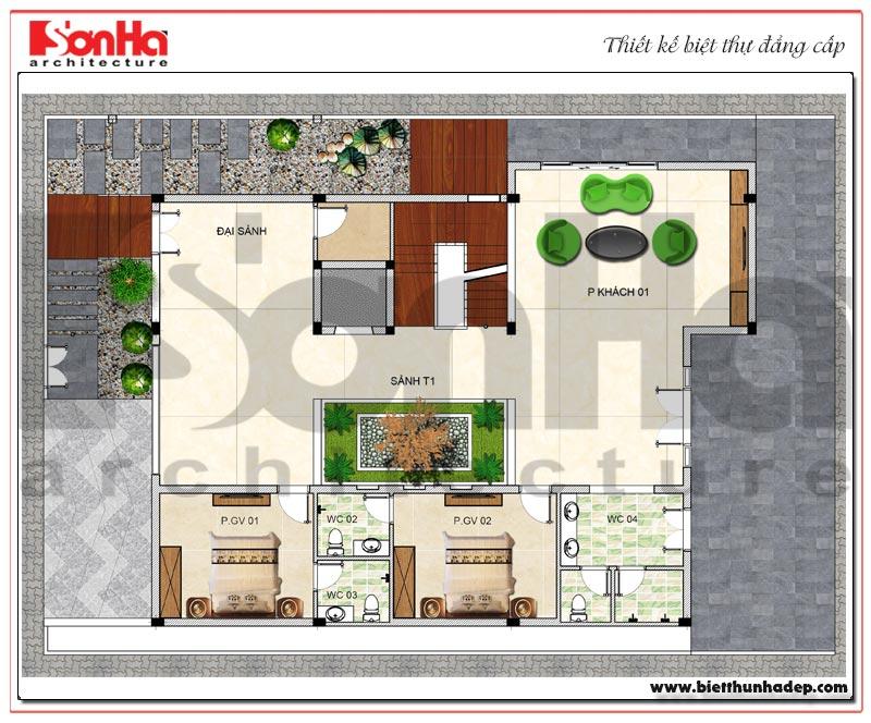 Bản vẽ mặt bằng công năng tầng 1 biệt thự hiện đại diện tích sàn 330m2 tại Thái Bình