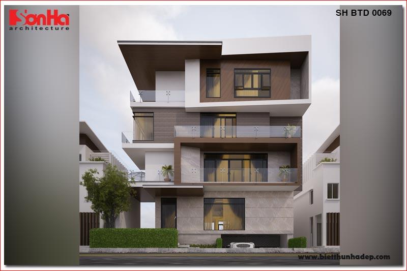BÌA thiết kế biệt thự hiện đại 5 tầng mặt tiền 15m tại thái bình sh btd 0069