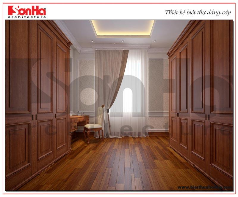 Thiết kế khu thay đồ với nội thất gỗ được bố trí khoa học trong căn phòng ngủ