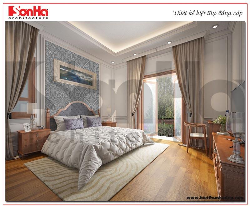 Phương án thiết kế ấn tượng của mẫu nội thất phòng ngủ biệt thự tân cổ điển 3 tầng