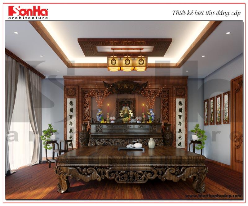 Phương án thiết kế nội thất phòng thờ đẹp mắt của biệt thự tân cổ điển pháp