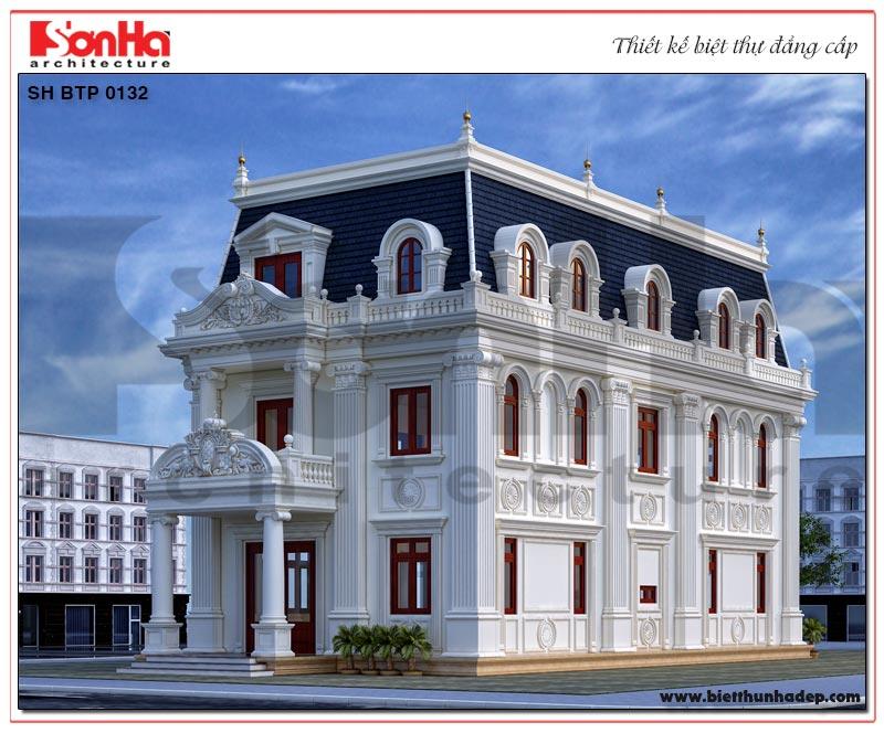 Kiến trúc ngoại thất ngôi biệt thự thu hút sự chú ý bởi cách phối màu tinh tế và hài hòa