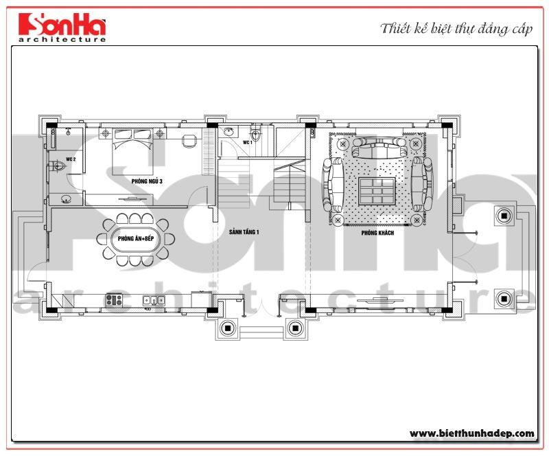 Bản vẽ chi tiết mặt bằng công năng tầng 1 biệt thự tân cổ điển trên diện tích sàn 231,9m2