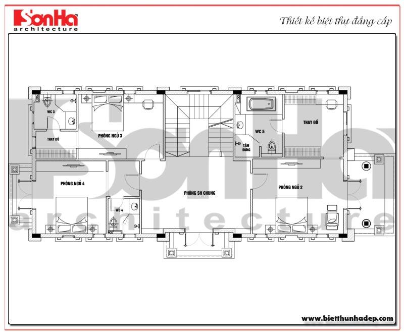 Bản vẽ chi tiết mặt bằng công năng tầng 2 biệt thự tân cổ điển trên diện tích sàn 231,9m2