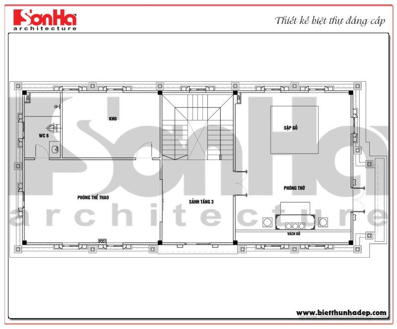 Bản vẽ chi tiết mặt bằng công năng tầng 3 biệt thự tân cổ điển trên diện tích sàn 231,9m2
