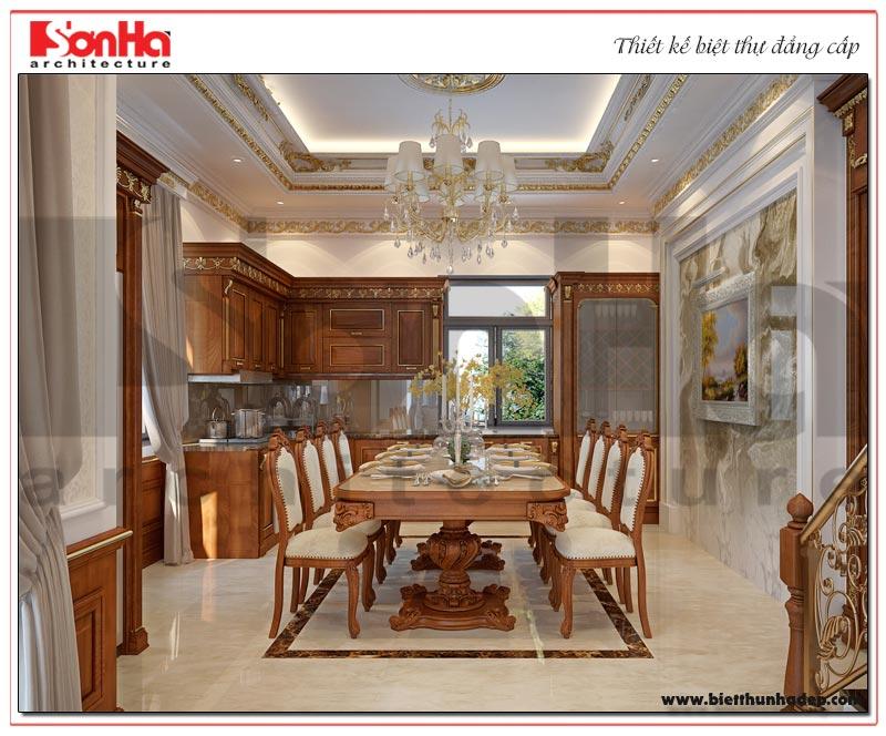 Mẫu thiết kế nội thất phòng bếp ăn biệt thự với nội thất gỗ cao cấp
