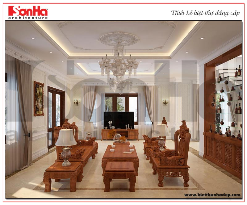 Phương án thiết kế nội thất phòng khách tân cổ điển dành riêng cho biệt thự 3 tầng tại hà Nội