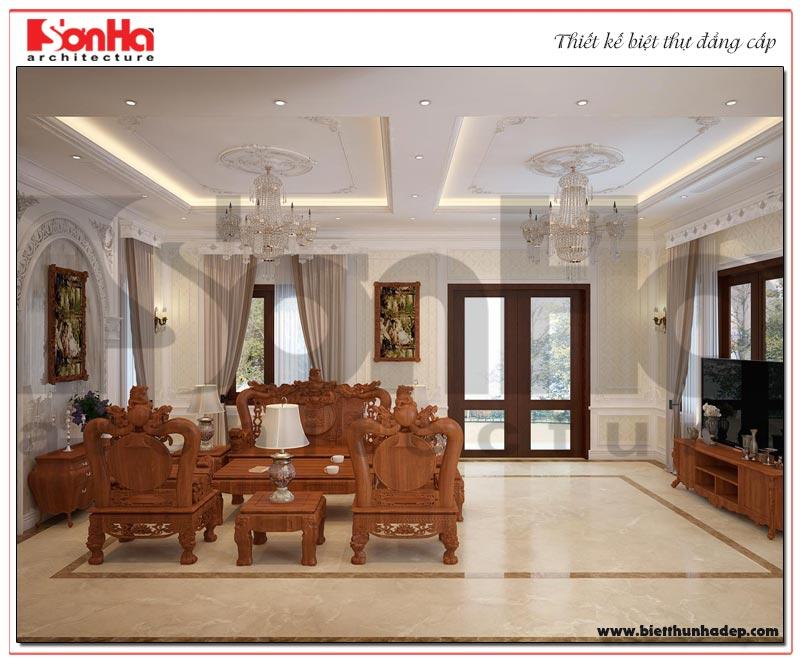 Không gian nội thất phòng khách ngôi biệt thự thiết kế đẹp thể hiện đẳng cấp của chủ sở hữu