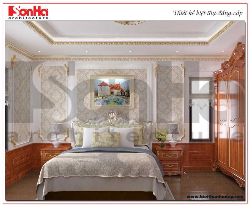 Mẫu thiết kế nội thất phòng ngủ biệt thự tân cổ điển 2 tầng tại KĐT Senturia Vườn lài An Phú Đông – Sài Gòn