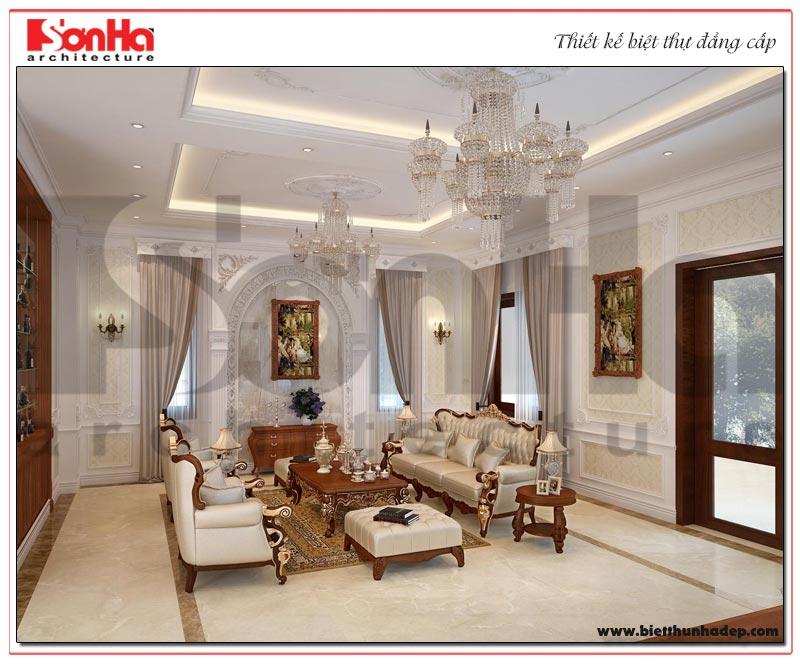 Mẫu thiết kế nội thất phòng khách 2 mang phong cách tân cổ điển duyên dáng và hợp thời