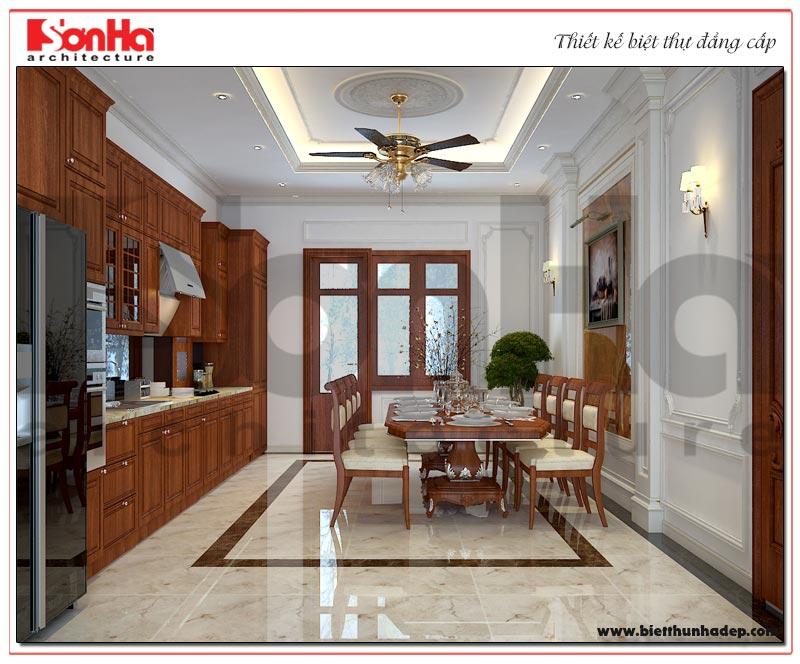 Thiết kế nội thất phòng bếp ăn biệt thự tân cổ điển 3 tầng sang trọng, đẹp mắt