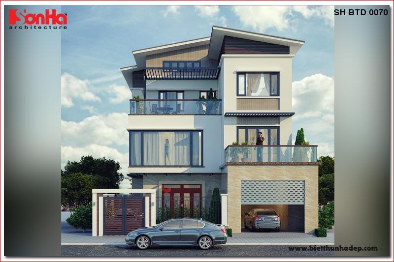 BÌA thiết kế biệt thự hiện đại 3 tầng mặt tiền 13,5m tại quảng ninh sh btd 0070