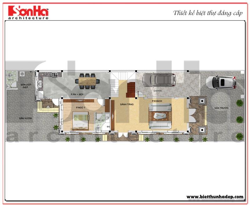 Mặt bằng công năng tầng 1 biệt thự tân cổ điển mặt tiền 9m dài 19m tại Hải Phòng