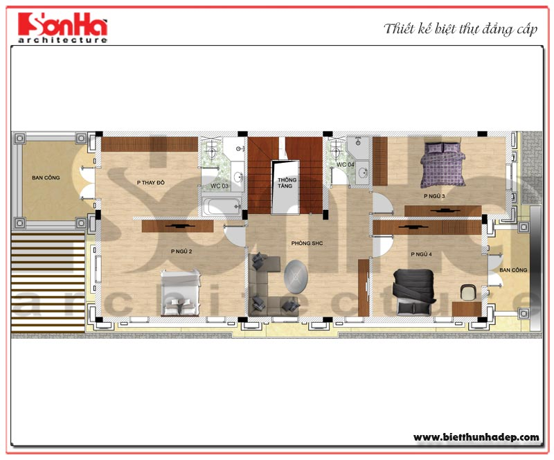 Mặt bằng công năng tầng 2 biệt thự tân cổ điển mặt tiền 9m dài 19m tại Hải Phòng