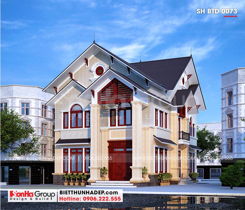 Mẫu biệt thự hiện đại 2 tầng mái thái diện tích 9,62x16,02m có thiết kế kiến trúc đẹp mắt cùng công năng khoa học tại Hải Phòng