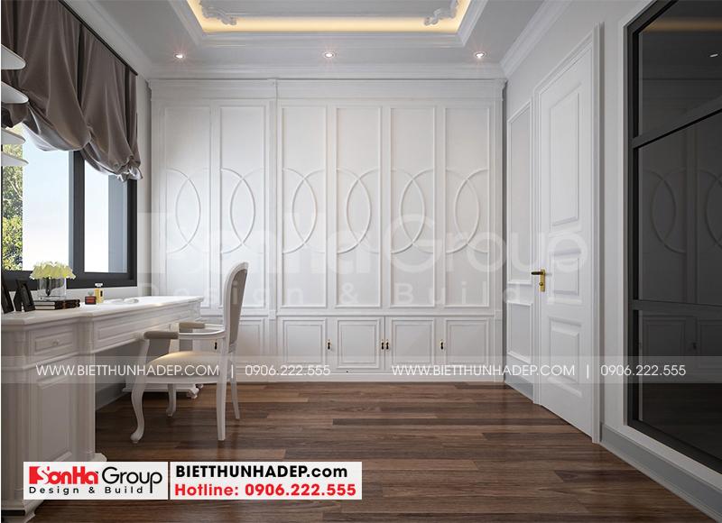 Thiết kế nội thất khu thay đồ với vật liệu gỗ công nghiệp đẹp và sang
