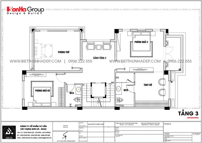 Bản vẽ mặt bằng công năng tầng 3 biệt thự song lập 3 tầng 1 tum tại Vinhomes Imperia Hải Phòng