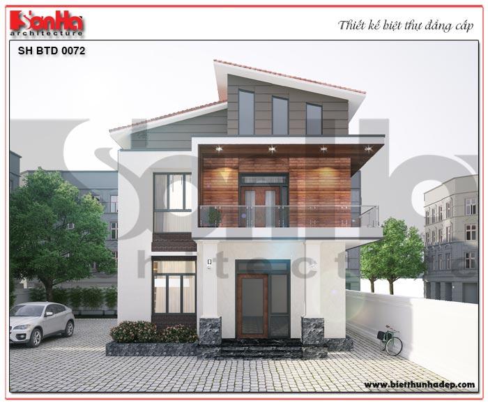 Phối cảnh kiến trúc mặt tiền biệt thự 2 tầng phong cách hiện đại nổi bật với mái thái và màu sắc hài hòa, bắt mắt