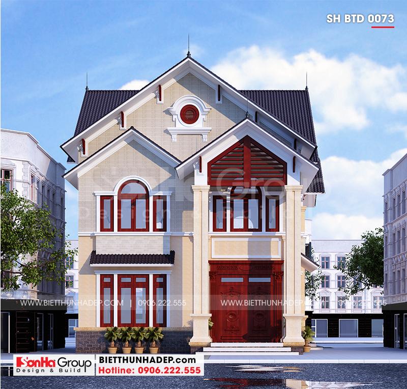 Cận cảnh kiến trúc mặt tiền biệt thự 2 tầng mái thái thiết kế mang phong cách hiện đại trẻ trung và hợp thời