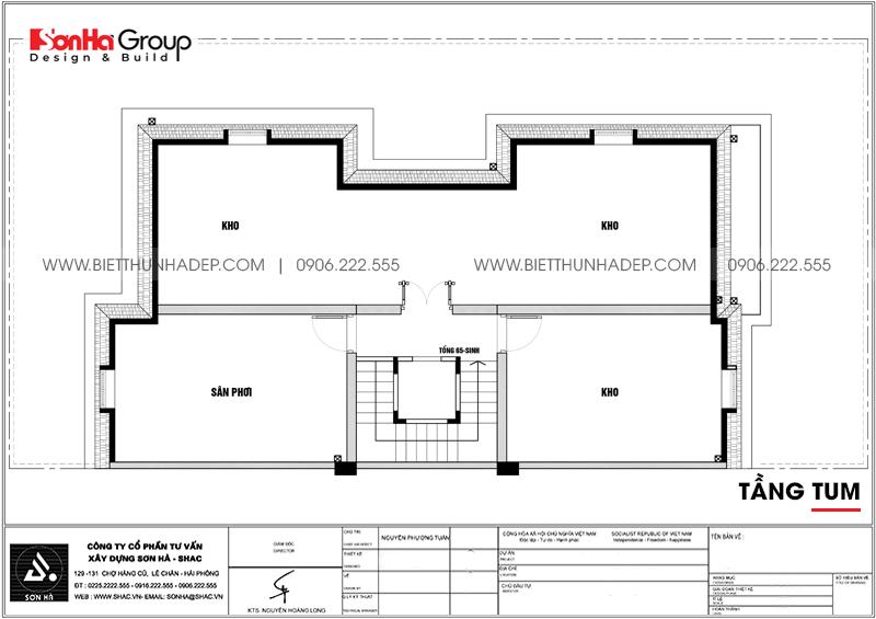 Bản vẽ mặt bằng công năng tầng tum biệt thự song lập 3 tầng 1 tum tại Vinhomes Imperia Hải Phòng