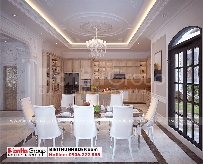 Nội thất phòng ăn phong cách tân cổ điển có thiết kế nội thất đẹp, kiểu dáng độc đáo, màu sắc hài hòa