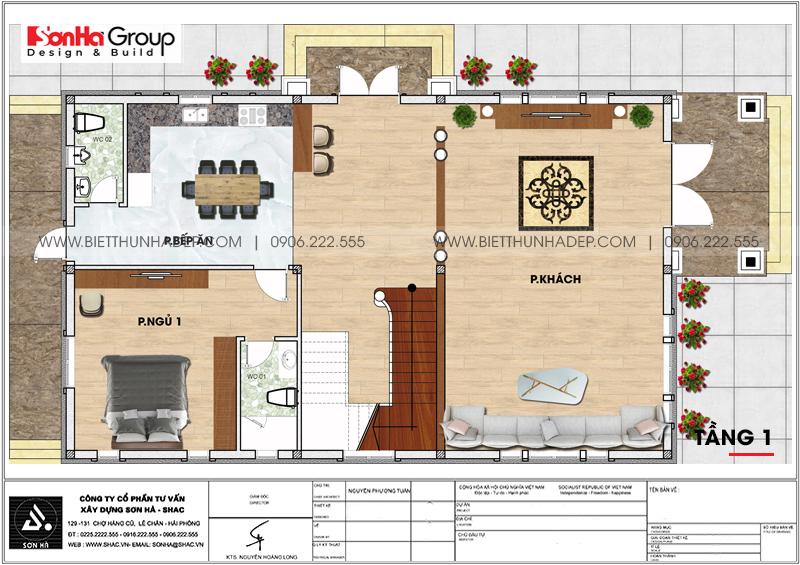 Phương án bố trí công năng tầng 1 biệt thự mái thái kiểu hiện đại 154,11m2 tại Hải Phòng
