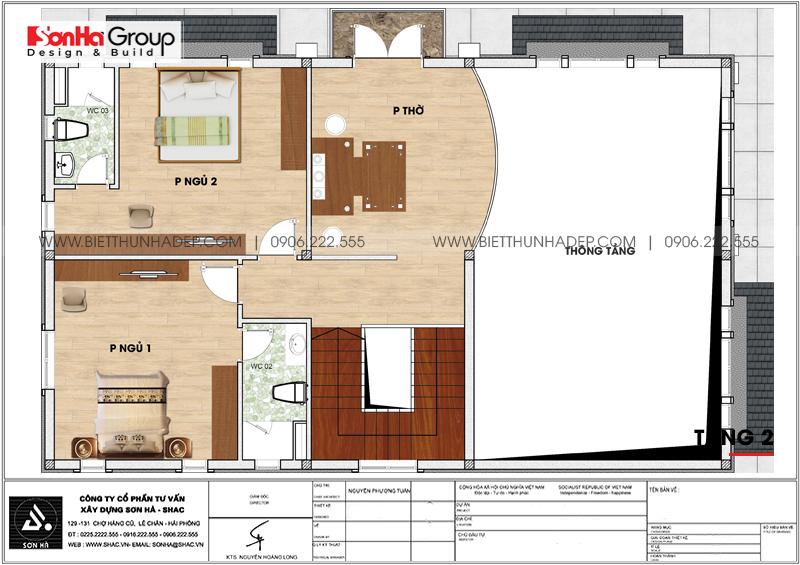 Phương án bố trí công năng tầng 2 biệt thự mái thái kiểu hiện đại 154,11m2 tại Hải Phòng