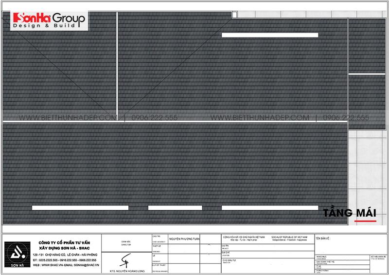 Phương án bố trí công năng tầng mái biệt thự mái thái kiểu hiện đại 154,11m2 tại Hải Phòng