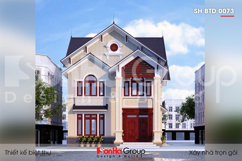 BIA Thiết kế biệt thự mái thái kiểu hiện đại 2 tầng sh btd 0073