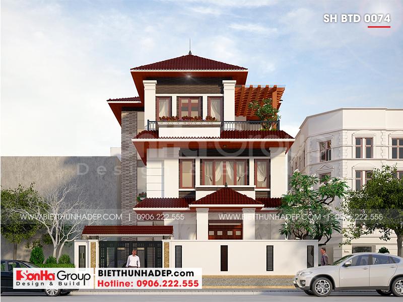 Kiến trúc ngoại thất mãn nhãn của ngôi biệt thự mái thái ấn tượng với phong cách lạ mắt đậm chất hiện đại
