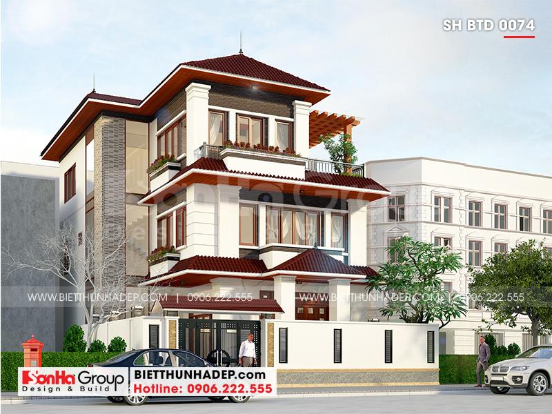 Thiết kế biệt thự hiện đại 3 tầng mái thái diện tích 12m x 18m tại Quảng Ninh độc đáo và cuốn hút bởi hình khối và màu sắc hợp thời