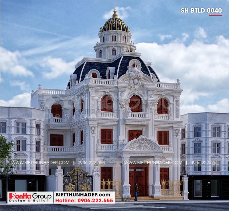 T hiết kế kiến trúc biệt thự lâu đài mặt tiền rộng 10m15 tại Hà Nội – SH BTLD 0040 với phong cách hoàng gia lịch lãm