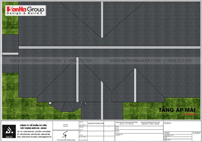 Mặt bằng công năng chi tiết tầng mái biệt thự tân cổ điển mái thái tại Vĩnh Long