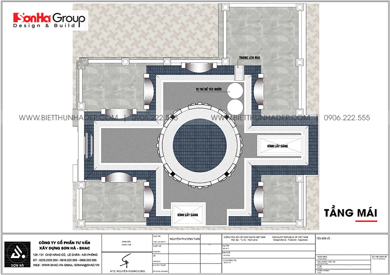 Bản vẽ chi tiết công năng tầng mái nhà biệt thự lâu đài cổ điển diện tích 149,5m2 xa hoa tại huyện Gia Lâm – Hà Nội