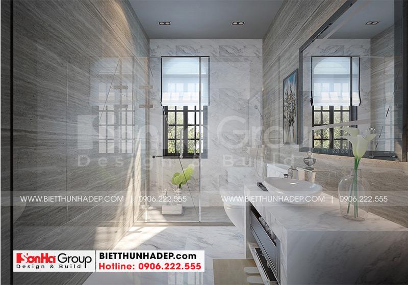 Thiết kế phòng tắm và vệ sinh sang trọng với vật liệu cao cấp