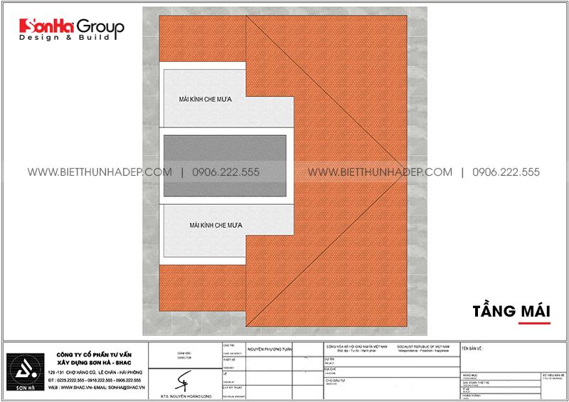 Bản vẽ công năng tầng mái biệt thự tân cổ điển mặt tiền 8 dài 10,1m tại Hải Phòng