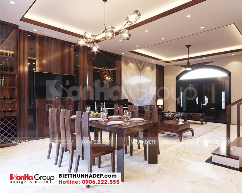 Khu vực phòng ăn thoáng đãng với bố trí nội thất gỗ đẹp mắt và phù hợp