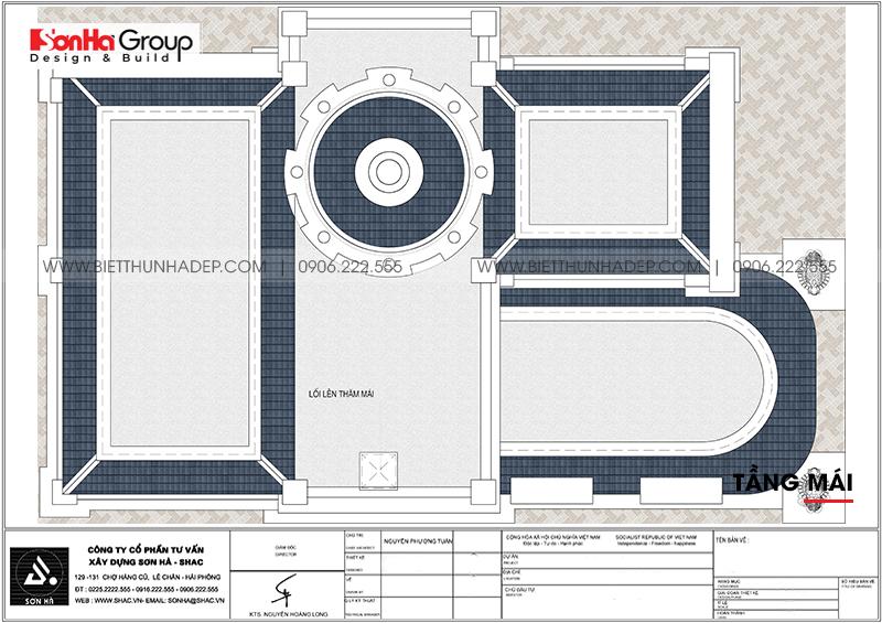 Mặt bằng công năng tầng mái biệt thự lâu đài kiểu Pháp diện tích sàn 206,34m2 tại Long An