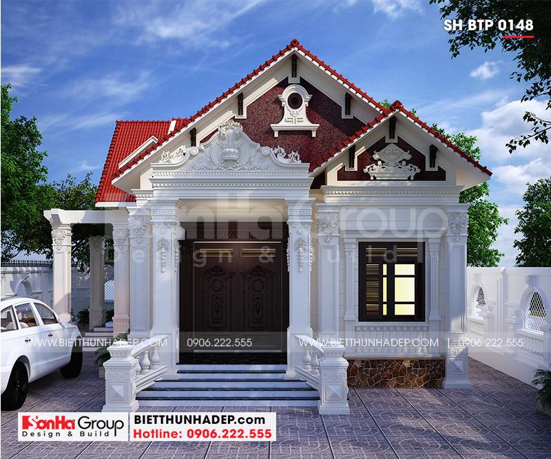 Lối thiết kế mở tạo không gian ngoại thất ấn tượng cho biệt thự sân vườn mái ngói đỏ đẹp