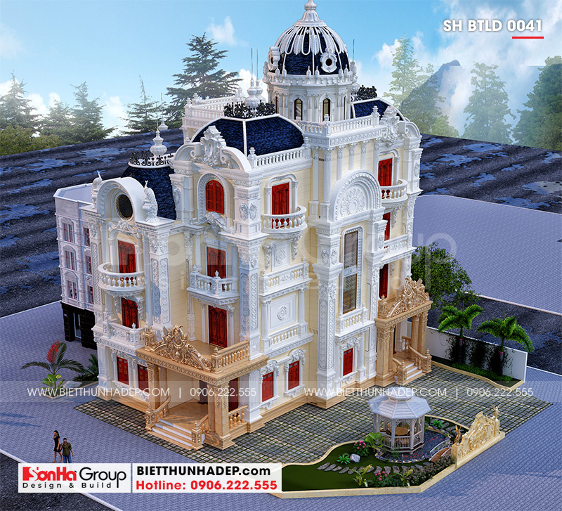 Toàn cảnh khuôn viên quy hoạch xây dựng biệt thự lâu đài cổ điển sang trọng 4 tầng 1 tum tại Long An