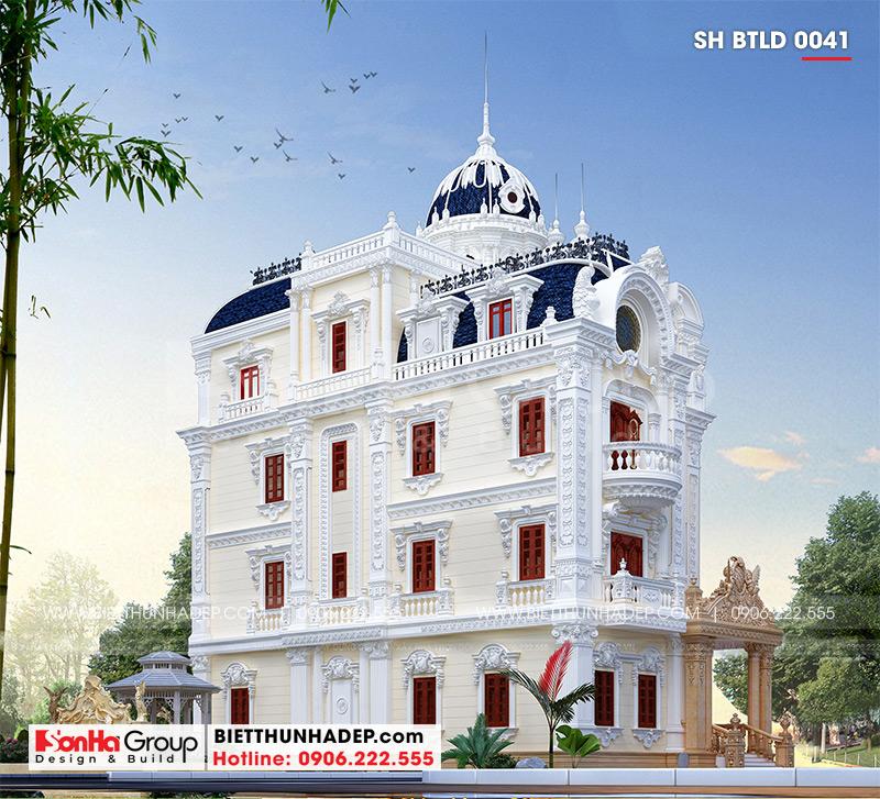 Công trình thiết kế biệt thự lâu đài 4 tầng 1 tum nguy nga và đồ sộ tại Long An với hệ thống phào chỉ mãn nhãn và độc đáo ở ngoại thất