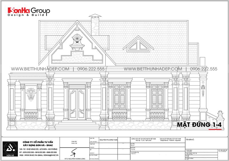 Bản vẽ mặt đứng trục 1-4 biệt thự tân cổ điển mái thái 2 mặt tiền tại Hải Phòng