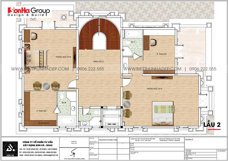 9 Bản vẽ tầng trệt biệt thự lâu đài cổ điển pháp tại long an sh btp 0041