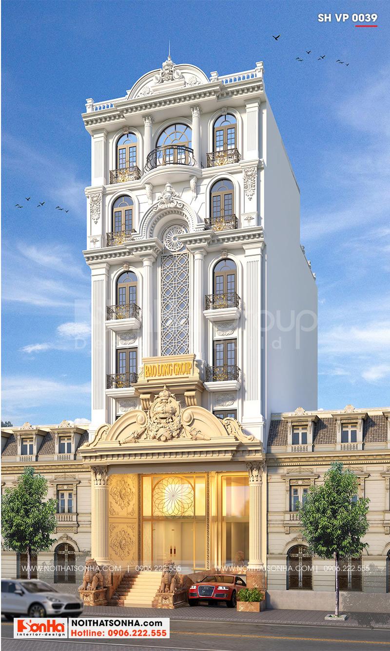 Phối cảnh kiến trúc tòa nhà văn phòng hơi hướng tân cổ điển trang nhã, đẹp mắt tọa lạc tại trung tâm quận Bình Thạnh với diện mạo hoàn mỹ, bề thế cuốn hút mọi ánh nhìn