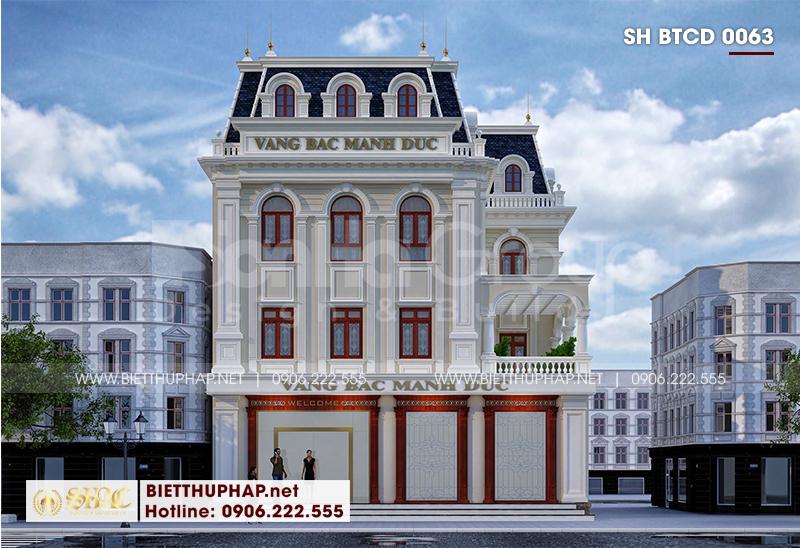 Thiết kế kiến trúc biệt thự 3 tầng phong cách tân cổ điển kết hợp kinh doanh tại Hải Phòng