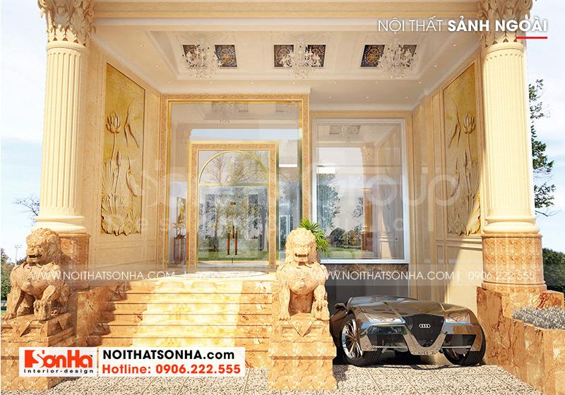 Sảnh tiền tầng 1 được thiết kế với gam màu vàng đặc trưng phong cách tân cổ điển tạo điểm nhấn cho ngoại thất công trình