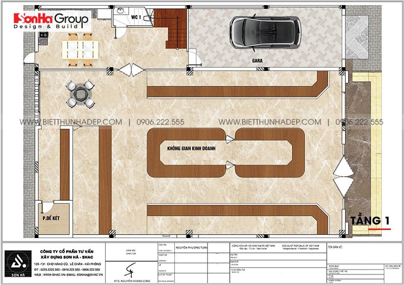 Phương án bố trí công năng tầng 1 nhà biệt thự tân cổ điển mặt tiền 15m dài 20m tại Hải Phòng